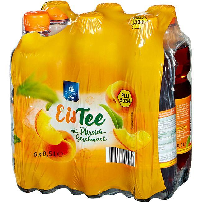 Captains Tea Eistee Pfirsich 0,5 Liter, 6er Pack - Bild 1