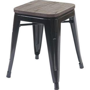 Hocker MCW-A73 inkl. Holz-Sitzfläche, Metallhocker Sitzhocker, Metall Industriedesign stapelbar ~ schwarz - Bild 1