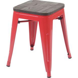 Hocker MCW-A73 inkl. Holz-Sitzfläche, Metallhocker Sitzhocker, Metall Industriedesign stapelbar ~ rot - Bild 1