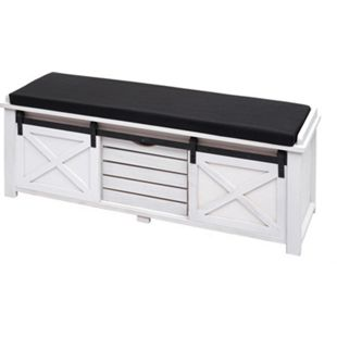 Sitzbank mit Staufächern MCW-H53, Polsterbank Sitz-Kommode, Shabby-Look Massiv-Holz Metall Stoff 43x102x33cm ~ weiß - Bild 1