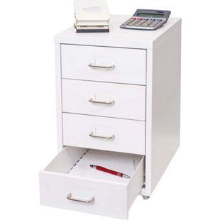 Rollcontainer Preston T851, Schubladenschrank Stahlschrank Büroschrank, 48x28x41cm 4 Schubladen ~ weiß - Bild 1