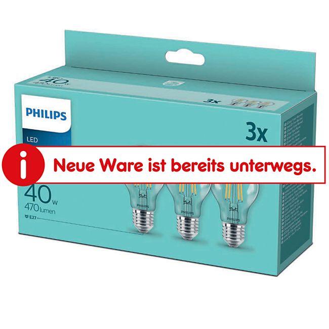 Philips LED Filament Birne 40W A60 E27 3er Pack - Bild 1