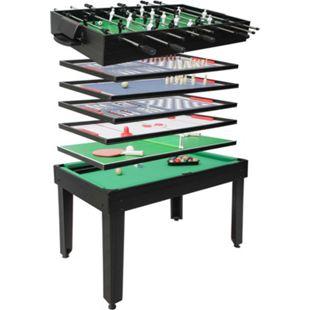 Tischkicker MCW-J15, Tischfußball Billard Hockey 7in1 Multiplayer Spieletisch, MDF 82x107x60cm ~ schwarz - Bild 1