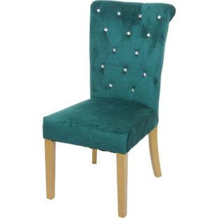 Esszimmerstuhl MCW-D22, Stuhl Küchenstuhl, Nieten Samt ~ dunkelgrün, goldfarbene Beine - Bild 1