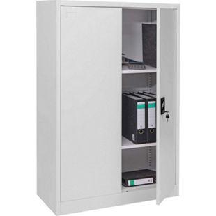 Aktenschrank MCW-H17, Stahlschrank Büroschrank, 2 Türen ~ 140x90cm grau - Bild 1