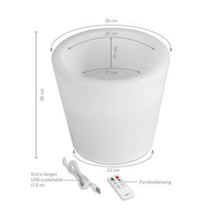 MAXXMEE LED-Blumenkübel 28 cm weiß mit Farbwechsel versch. Formen - Bild 1