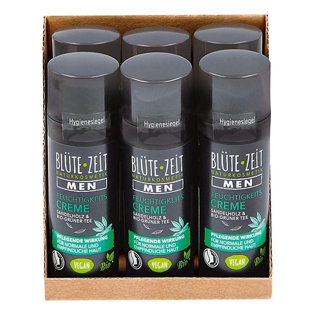 BLÜTE-ZEIT Men Feuchtigkeitscreme mit Sandelholz & BIO-Grüner Tee 50 ml, 6er Pack - Bild 1