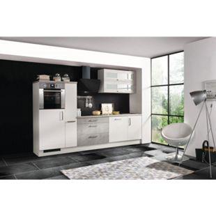 Respekta Premium Küchenzeile MERP290HWB 290cm weiß Hochglanz Lack - Beton-Optik - Bild 1