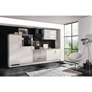 Respekta Premium Küchenzeile MERP320HWB 320cm weiß Hochglanz Lack - Beton-Optik - Bild 1