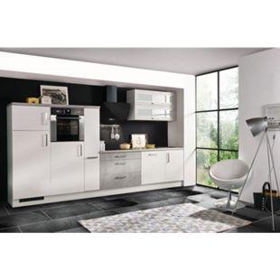 Respekta Premium Küchenzeile MERP350HWB 350cm weiß Hochglanz Lack - Beton-Optik - Bild 1