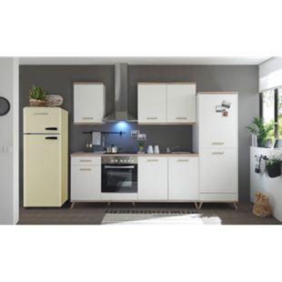 Respekta Premium Retro Küchenzeile BERP330RE 330cm weiß - Eiche sägerau Optik - Bild 1