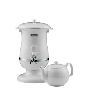 Mulex Samowar 2,5 l Wasserkocher inkl. 1 l Porzellan Teekanne, weiß, mit Teesieb und Edelstahl Wasserfilter - Bild 1