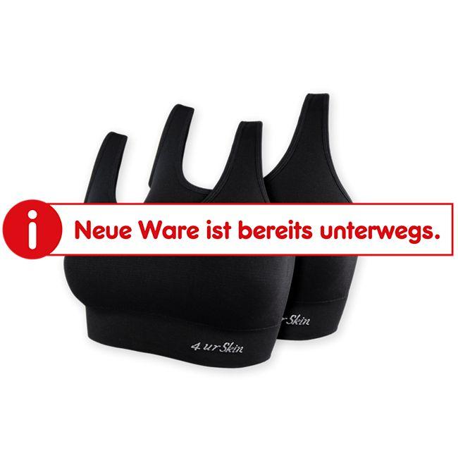 Damen-Bustier seamless, sportiver Style, 2er Packung - schwarz, Gr. S/M - Bild 1