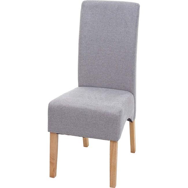 Esszimmerstuhl Crotone, Küchenstuhl Stuhl, Stoff/Textil ~ hellgrau, helle Beine - Bild 1