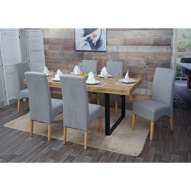 6x Esszimmerstuhl Crotone, Küchenstuhl Stuhl, Stoff/Textil ~ hellgrau, helle Beine - Bild 1
