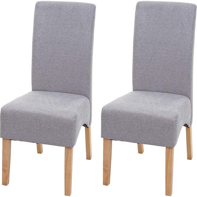 2x Esszimmerstuhl Crotone, Küchenstuhl Stuhl, Stoff/Textil ~ hellgrau, helle Beine - Bild 1