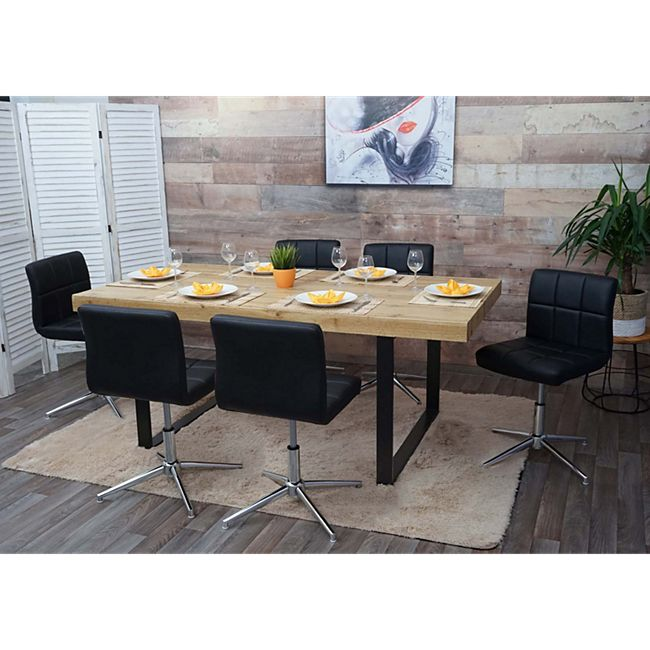 6x Esszimmerstuhl Cadiz II, Stuhl Küchenstuhl, höhenverstellbar Drehmechanismus ~ Kunstleder schwarz, Chromfuß - Bild 1