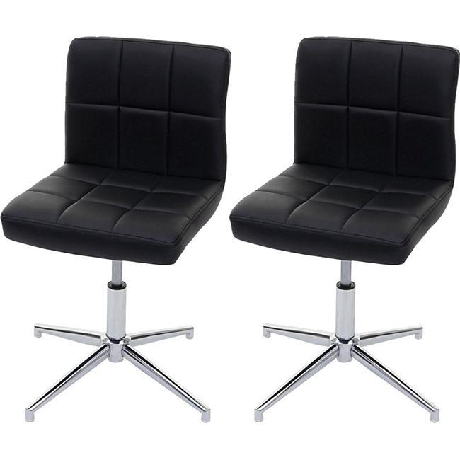 2x Esszimmerstuhl Cadiz II, Stuhl Küchenstuhl, höhenverstellbar Drehmechanismus ~ Kunstleder schwarz, Chromfuß - Bild 1