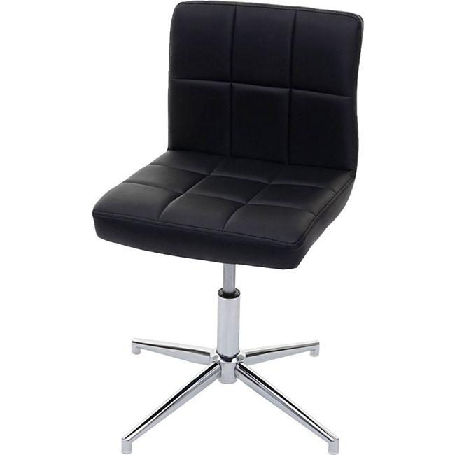Esszimmerstuhl Cadiz II, Stuhl Küchenstuhl, höhenverstellbar Drehmechanismus ~ Kunstleder schwarz, Chromfuß - Bild 1
