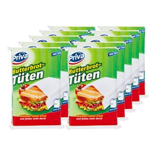 Priva Butterbrot-Papiertüten 100 Stück, 10er Pack - Bild 1