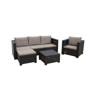 Keter OXFORD Loungeset 4tlg. Premium Panama braun mit Kissen capp. (3-Sitzer, Sessel, Hocker, Tisch) - Bild 1
