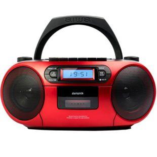 Aiwa BBTC-550RD ROT Tragbares Hifi Radio mit CD, Kassettendeck, Bluetooth und USB - Bild 1