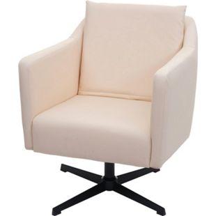 Lounge-Sessel MCW-H93b, Sessel Cocktailsessel Relaxsessel mit Fußkreuz, drehbar ~ Kunstleder creme-beige - Bild 1