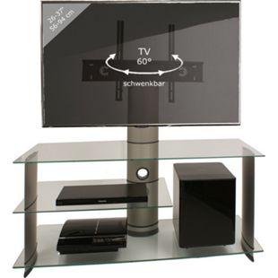 """VCM TV-Rack Lowboard Konsole Fernsehtisch TV Möbel Bank Glastisch Tisch Subwoofer Schrank """"Bulmo Silber"""" - Bild 1"""