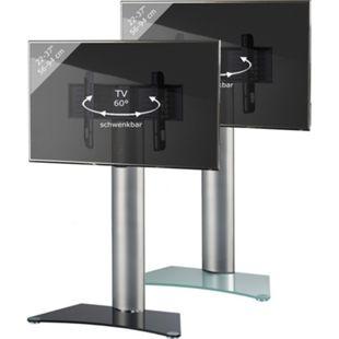 """VCM TV-Standfuß LED Ständer Fernseh Standfuss Alu Glas Universal """"Findal"""" Universell VESA Ablage Schwarzglas oder Mattglas - Bild 1"""