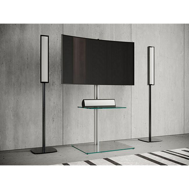 """VCM TV-Standfuß LED Ständer Fernseh Standfuss Alu Glas Universal """"Alani Zwischenboden"""" Universell VESA - Bild 1"""
