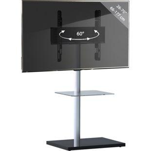"""VCM TV-Standfuß LED Ständer Fernseh Standfuss Alu Glas Universal """"Nalano"""" mit Zwischenboden - Bild 1"""