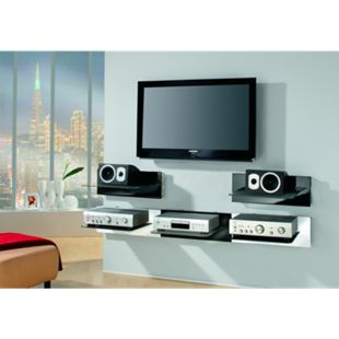 "VCM Paneel Hifi-Halterung Receiver DVD-Player Hifi-Möbel Hifi-Konsole Wandregal ""Xeno-1 Schwarzglas"" - Bild 1"