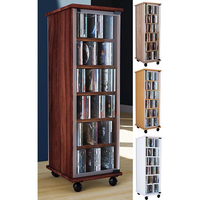 vcm my home cd dvd regal tower vitrine schrank mit rollen drehbar farbwahl valenza online