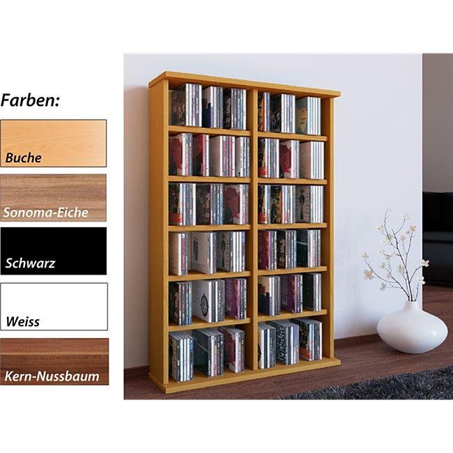 """VCM Regal DVD CD Rack Medienregal Medienschrank Aufbewahrung Holzregal Standregal Möbel Bluray Möbel """"Ronul"""" - Bild 1"""