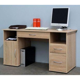 """VCM Schreibtisch Tisch Computertisch Laptop PC Fach Schubladen Sonoma-Eiche Sägerau Büro Möbel 73x145x60 cm """"Tallinn"""" - Bild 1"""