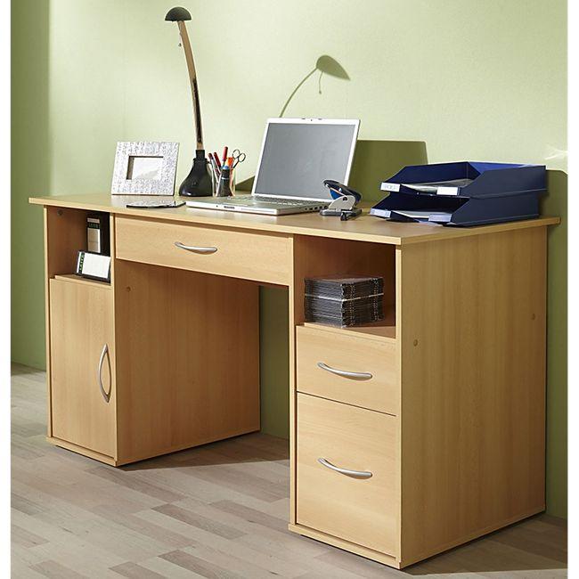 """VCM Schreibtisch Tisch Computertisch Laptop PC Fach Schubladen Buche """"Tallinn"""" Büro Möbel 73 x 145 x 60 cm - Bild 1"""