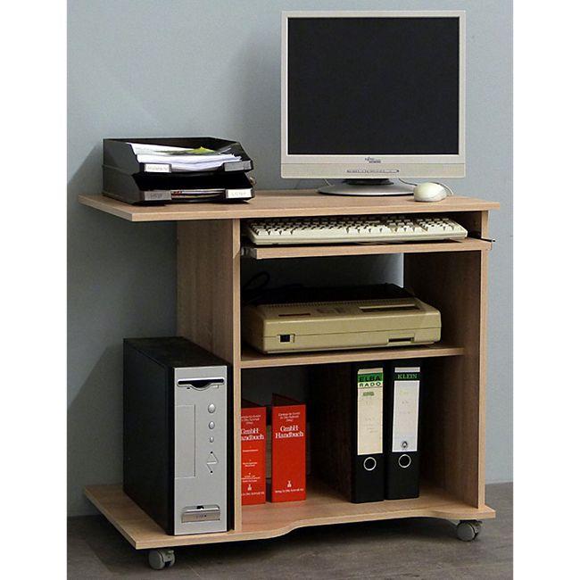 """VCM Computertisch Schreibtisch Bürotisch PC Laptop Tisch mit Rollen Buche """"Officano"""" - Bild 1"""