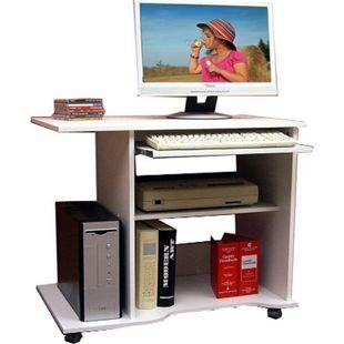 """VCM Computertisch Schreibtisch Bürotisch PC Laptop Tisch mit Rollen Weiß Büro """"Officano"""" - Bild 1"""
