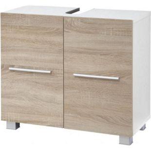 """VCM Waschtischunterschrank Unterschrank Badschrank """"Carlos"""" weiß/eiche-sägerau 65 x 31,5 x 51,5 cm Waschbecke Badmöbel - Bild 1"""