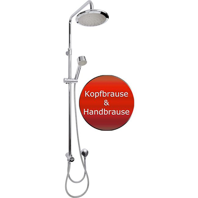 VCM Duschset Duschsystem Set Duschkopf Handbrause Schlauch Duschstange Wellness Höhenverstellbar Valencia - Bild 1