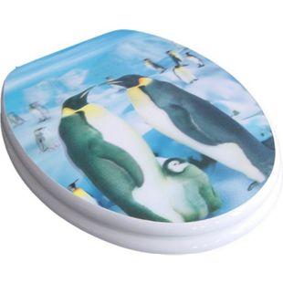 VCM WC Sitz Toilettendeckel Deckel Brille Klositz mit Absenkautomatik 3D Pinguin Holzkern Klodeckel Toilettensitz - Bild 1