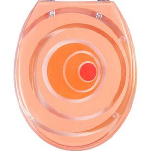 """VCM WC Sitz Toilettendeckel Deckel Toilettensitz Klodeckel Klositz Klobrille Klo """"Tivoli"""" Transparenter Deckel & Ring Verstellbare Metallscharniere Miami orange - Bild 1"""