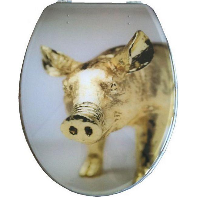 """VCM WC Sitz Toilettendeckel Deckel Toilettensitz Klodeckel Klositz Klobrille Klo """"Tivoli"""" Transparenter Deckel & Ring Verstellbare Metallscharniere Schwein - Bild 1"""