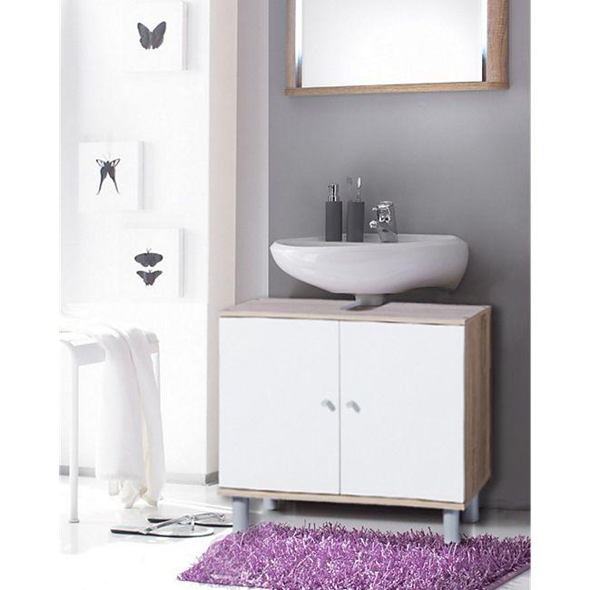 Badezimmerschrank Netto: VCM Waschtischunterschrank Schrank Badmöbel Waschbecken