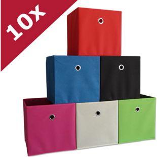 """VCM 10er Set Faltbox Klappbox Sammelbox Stoffbox Regalbox Regalkorb """"Boxas"""" - Bild 1"""