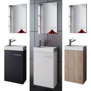 """VCM Waschplatz Waschbecken Schrank + Spiegel WC Gäste Toilette Badmöbel klein schmal """"Garla"""" - Bild 1"""