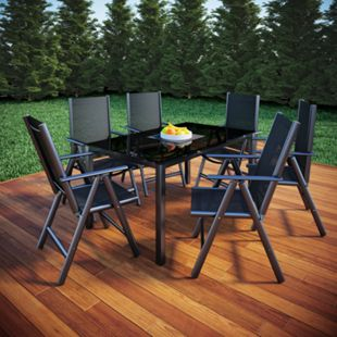 VCM Alu Sitzgruppe 150x90 Gartenmöbel Gartengarnitur Tisch Stuhl Essgruppe Gartenset - Bild 1