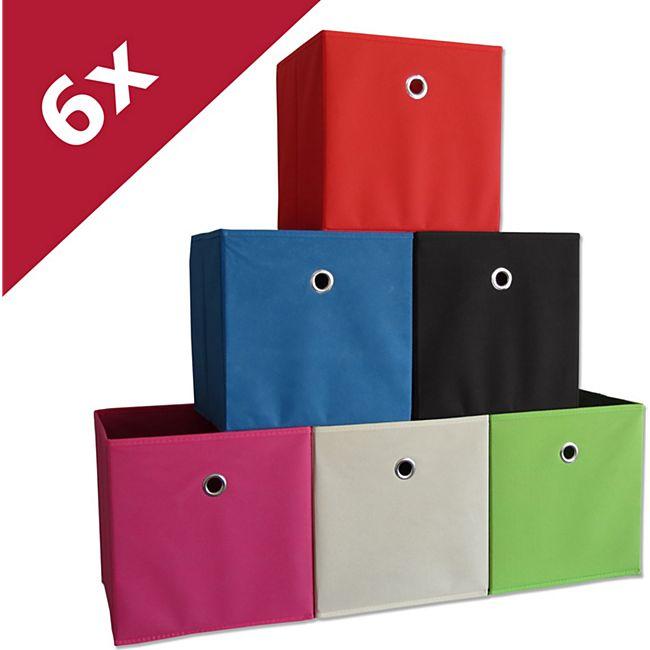 """VCM 6er Set Faltbox Klappbox Sammelbox Stoffbox Regalbox Regalkorb Korb """"Boxas"""" - Bild 1"""