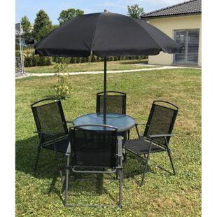 VCM 6-teiliges Gartenmöbel-Set (Tisch, Stühle, Schirm) - Bild 1