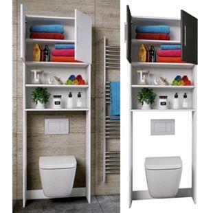 """VCM WC Überbauschrank Toilette Schrank Badschrank Badregal Badmöbel Hochschrank """"Totas"""" 190 x 64 - Bild 1"""